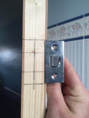 Marking up a door latch