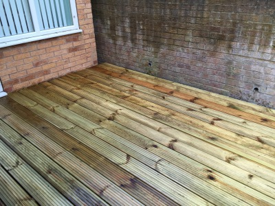 new wooden decking
